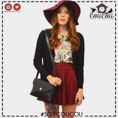 Arma tus #outfits con prendas COUCOU! Minifalda $60.000 Cardigan negro $76.000 Bolso $50.000 Sombrero fedora $50.000  Estamos en #Cúcuta y Realizamos Envios a toda #colombia  Para  info: llámanos al 3004172602 (Whatsapp)  #coucourya #coucouisrosy #instamoda #cali #instafashion #soycoucou #medellin #ibague #bogota #cucuta #bucaramanga #cartagena