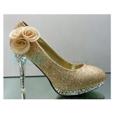 Beautiful and Elegant Style Three Flowers Embellished High-Heeled Shoes