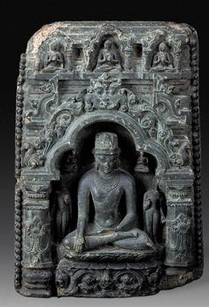 A Black Stone Stele of Buddha Shakyamuni   Eastern India or Bengal, 10th/11th Century   Crisply carved as a rectangular stele with Buddha seated in an arched niche on a lotus base, flanked by two attendants, flanked on either side by columns supporting a frieze with three further Buddhas in recessed niches Gautam Buddha Image, Buddha India, Asian Sculptures, Ancient Artefacts, Stone Statues, Indian Art Paintings, Buddha Art, Ancient Mysteries, Hindu Art