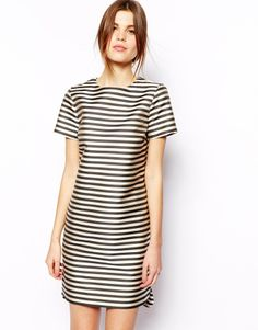 Asos Structured Shift Dress In Stripe - Multi on shopstyle.com