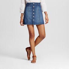 Women's Button Front Skirt Dark Denim 16 - Mossimo Supply Co. (Juniors')