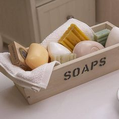 Sometimes simple is best. Personalised Soap Storage Crate. Can be filled with Baudelaire's artisan soaps.