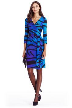 DVF New Julian Two Silk Jersey Wrap Dress in zebra large violet