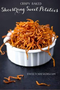 Crispy Baked Shoestring Sweet Potato Fries are a delicious, easy and healthy side dish or snack you can make in under 30 minutes!