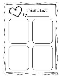 Cool Valentine's day printable for Kindergarten great for 4 square writing