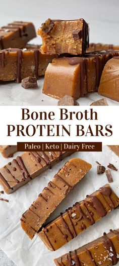 Looking for a delicious recipe using bone broth protein powder?! Look no further! These homemade bone broth protein bars are low carb, chewy and delicious (you can't tell they're made with bone broth). This easy protein bar recipe is Paleo, Keto and dairy free! #proteinbars #bonebroth #keto Low Carb Protein Bars, Protein Bar Recipes, Protein Bites, High Protein Snacks, Protein Foods, Snack Recipes, Dairy Free Keto Recipes, Gluten Free Snacks, Free Recipes