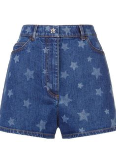 Harrods - Star Print High-Waist Denim Shorts High Rise Shorts 96cf6f19036