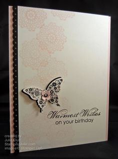 elegant pink birthday butterfly by juliestamps - Cards and Paper Crafts at Splitcoaststampers