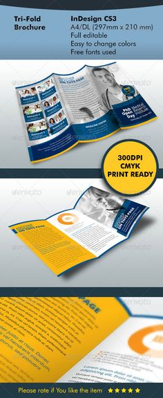 """TriFold Brochure Blue #GraphicRiver Details Fully Editable Indesign file A4/DL files include 300 dpi CMYK Print ready Fully Editable Bleed Dimension A4 – 8.27"""" x 11.69"""" (210mm x 297mm) + Bleed Fonts used Only free fonts used Steelfish – dl.1001fonts /steelfish.zip Open Sans – dl.1001fonts /open-sans.zip Photos Photo not include in project Using photo you can buy in Photodune Photo 1 Photo 2 Photo 3 Photo 4 Photo 5 Photo 6 Created: 25September13 GraphicsFilesIncluded: InDesignINDD Layered…"""