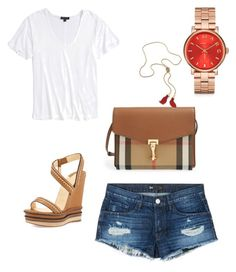 """short shorts"" by cosmoelan on Polyvore featuring 3x1, Topshop, Christian Louboutin, Burberry and Marc by Marc Jacobs"