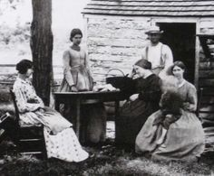 Civil War Farm women taking a break, great study on non - hoop dresses, work or farm dresses- And I believe this is a Southern image.