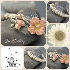 Freshwater Pearl Single Wrap with Ceramic Peach Flower Button www.facebook.com/the-birdcage