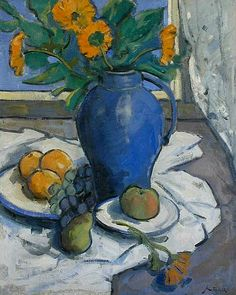 John Riddle Marigolds in a Blue Pitcher 20th century