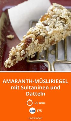 Amaranth-Müsliriegel mit Sultaninen und Datteln | Kalorien: 175 Kcal - Zeit: 25 Min. | http://eatsmarter.de/rezepte/amaranth-muesliriegel