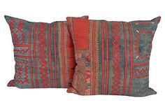 "Zigzag Appliqué Pillows  -  Thailand  -  MATERIAL RECOVERY  -  18"" x 18""  -  OneKingsLane.com  -  ($525.00)  $365.00"