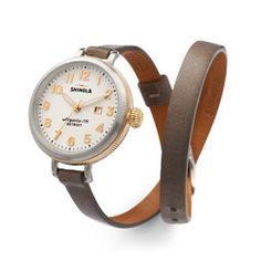 THE BIRDY 34mm DOUBLE WRAP LEATHER STRAP WATCH Women's White Watch with Date