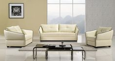 American Eagle AE348-IV Leather Match Sofa Set in Ivory
