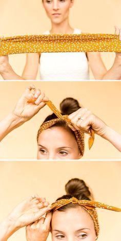 How to Style a Square Bandana - The Tucked and Knotted Headband #hairhacks #hairstyles #bandana