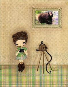Bear Print Photographer Camera Girl Children Wall by thepoppytree, $18.00