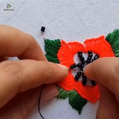 Hand Embroidery Beads Work, Flower Embroidery with Beads - Hand Embroidery Stitches Diy Embroidery Patterns, Hand Embroidery Videos, Hand Embroidery Tutorial, Hand Embroidery Flowers, Creative Embroidery, Learn Embroidery, Hand Embroidery Stitches, Silk Ribbon Embroidery, Embroidery Jewelry