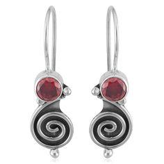 Sterling Silver Garnet Swirl Earrings