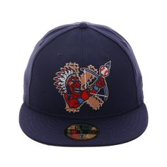 60d50c3163e Exclusive New Era 59Fifty Kinston Indians Chief Hat - Light Navy