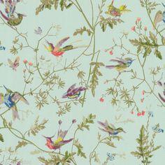 John Lewis COLE & SON HUMMINGBIRDS WALLPAPER 62/1004 AQUA - 6 AVAILABLE *** NEW