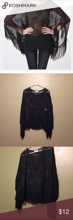 "Fringe Top 🦅 Size ""medium"" black, sheer top with unique fringe trim. Brand is ""Carapace"" from a boutique. Top is cape sleeve/poncho style. Fragile thin sheet material. Two very tiny snags on the back near the neck, unnoticeable when worn. This top was worn ONCE & is in great condition. Tops Blouses"