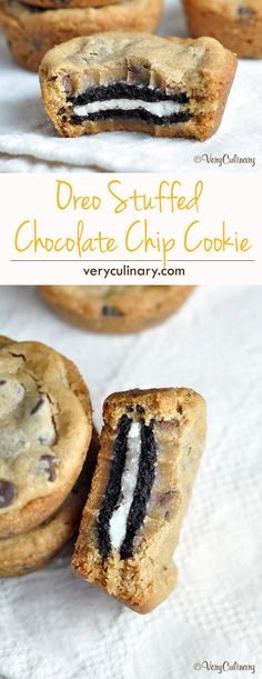 Oreo Stuffed Chocolate Chip Cookies - the best cookies ever! #dessert #recipe #sweet #easy #recipes