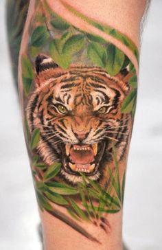 Tiger Head Tattoo On Half Sleeve