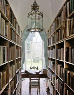 There are so many things about this space that I love, from the chandelier to the desk, to the bookshelves...