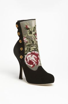 Dolce Tapestry Suede Bootie -- Golden roses perfect the cross-stitched charm of a vintage-chic bootie with curves in all the right places.