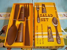 Vintage Mid Century Modern Salad Set Fork Spoon Salt & Pepper Shakers by BlackRain4