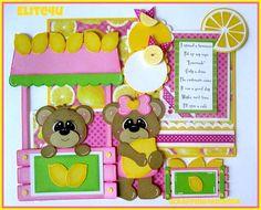 ELITE4U KAM Lemonade Tear Bear Premade Paper Piecing Mat Set for Page Album | eBay