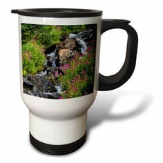 3dRose Monkeyflowers along Lunch Creek in Glacier NP, Montana, USA, Travel Mug, 14oz, Stainless Steel