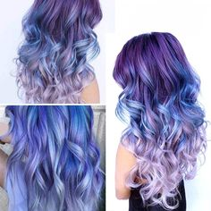 Cute Hair Colors, Beautiful Hair Color, Hair Color Purple, Hair Dye Colors, Cool Hair Color, Galaxy Hair Color, Unicorn Hair Color, Hombre Hair Colors, Blue And Pink Hair