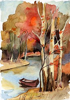 autumn by the lake - watercolor - Autumn Landscape