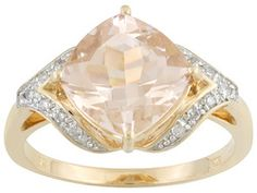 Cor-de-rosa Pink Morganite 2.82ct Cushion With Diamond Accent Round 10k Rose Gold Ring