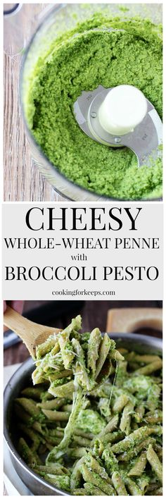 Cheesy Whole-Wheat Penne with Broccoli Pesto