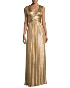 Sleeveless+Wrap+Metallic+Jersey+Gown,+Copper+by+Halston+Heritage+at+Neiman+Marcus.