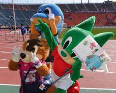 [ FUJI XEROX SUPER CUP:広島 vs 柏 ] リハーサル中のシャーレくん(浦和/写真右)とロビー(C大阪/写真左)とふろん太(川崎F/写真奥)。 今日はレディアに代わり登場したシャーレくんですが、元気いっぱいにファン・サポーターともたくさん交流をしていました。  ★「FUJI XEROX SUPER CUP 2013特集」グルメ&ゆるキャラ&もちろん真剣勝負も!  2013年2月23日(土):国立競技場