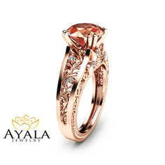 Rose Gold Morganite Engagement Ring Unique 2 Carat Moraganite Ring in 14K Rose Gold Art  Deco Styled Alternative Ring