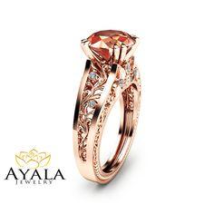 Rose Gold Morganite Engagement Ring Unique 2 Carat Morganite Ring in 14K Rose Gold Art  Deco Styled Alternative Ring