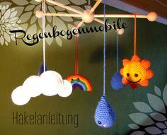 Häkelanleitung für ein Mobile mit Sonne, Wolken, Regen und Regenbogen