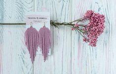 FREE SHIPPING Pink Matte Earrings, Long Earrings, Beaded earrings, Minimalist earrings, Wabi Sabi Eaarings, Hipster earrings, Gift Earrings