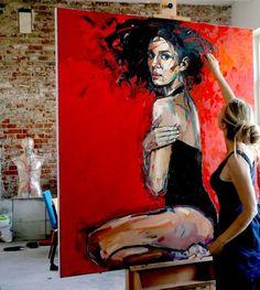 We loved this one.and sold it quickly . Red forest by Anna Bocek - bunt, We loved this one.and sold it quickly . Red forest by Anna Bocek - Frisure Rose Oil Painting, Oil Painting On Canvas, Painting & Drawing, Canvas Art, Studios D'art, Pop Art, Art Amour, L'art Du Portrait, Portraits