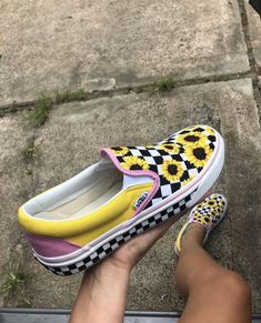 f8ef39079cf0 Lavender and yellow sunflower checkered vans slip ons