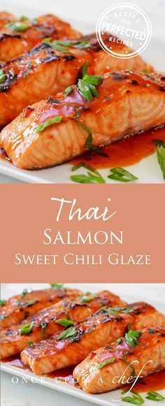 Broiled Salmon with Thai Sweet Chili Glaze Gebratener Lachs mit Thai Sweet Chili Glaze The post Gebratener Lachs mit Thai Sweet Chili Glaze & SEAFOOD RECIPES appeared first on Salmon recipes . Baked Salmon Recipes, Seafood Recipes, Cooking Recipes, Skin On Salmon Recipes, Cooking Bacon, Recipes Dinner, Cooking Fish, Salmon With Soy Sauce, Cooking Tips