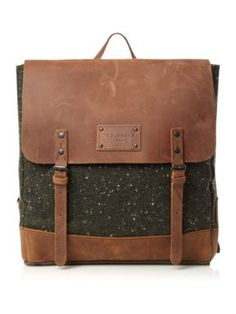 Ted Baker Wool rucksack with leather trim Dark Green - House of Fraser