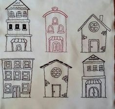 Hand-Embroidered houses